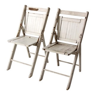 White Wood Folding Chairs, Circa 1940- Set of 2