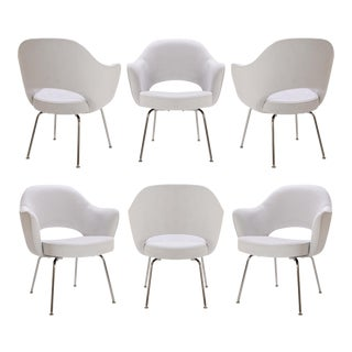 Saarinen Executive Arm Chairs in Dove Ultrasuede - Set of 6
