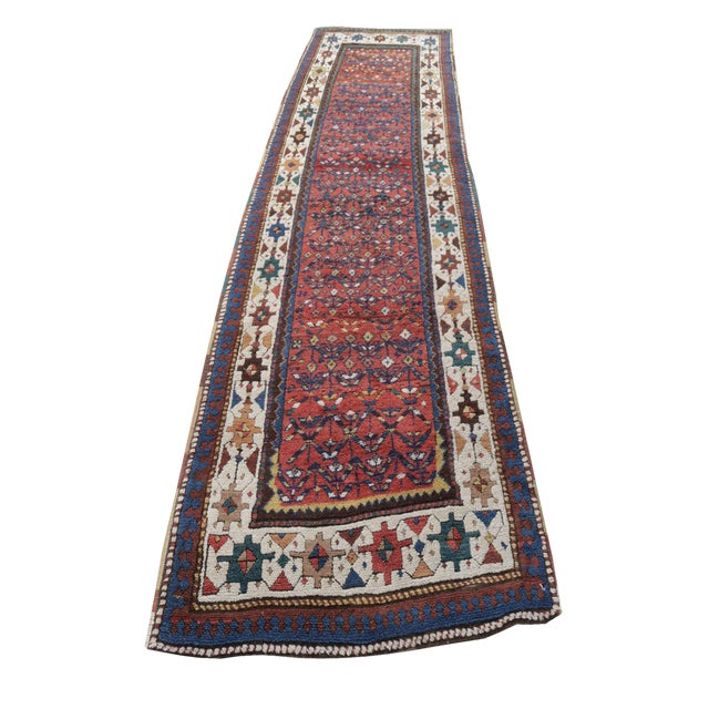 "Mint West Persian Kurdish Antique Rug - 3'4"" X 11' - Image 1 of 4"