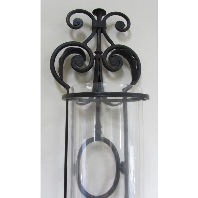 Image of Large Wrought Iron Candle Sconces - Pair