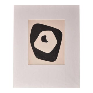 "Hand Signed Jean Arp ""Silent Tension"" Woodcut, Paris, 1951"