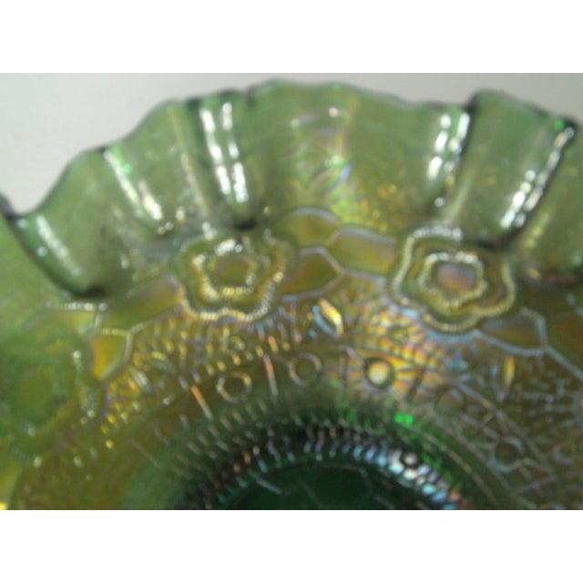 Emerald Green Rose Carnival Glass Bowl