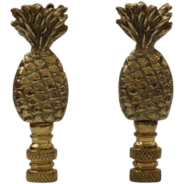 Image of Brass Pineapple Lamp Finials - A Pair