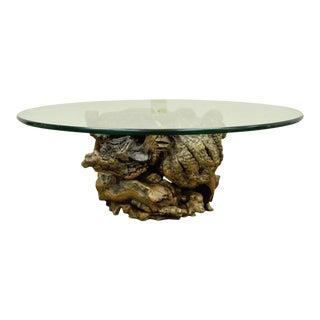 Vintage Mid-Century Modern Live Edge Drift Wood Glass Top Burlwood Coffee Table