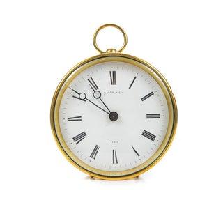 French Brass Drum Mantel Clock by Salom & Co.