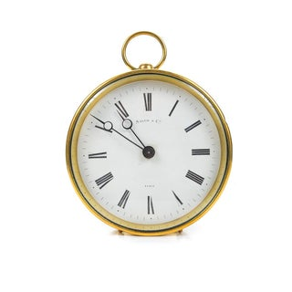 French Brass Drum Mantel Clock by Salom & Co.