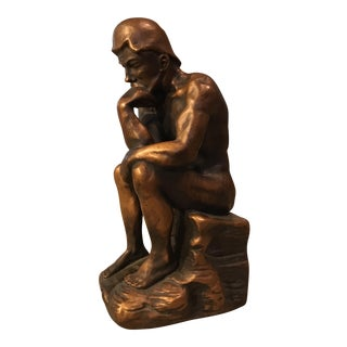 "Vintage Marwal ""The Thinker"" Chalkware Statue"