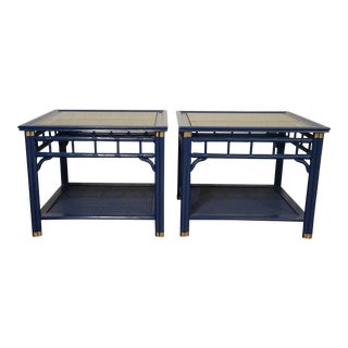 Blue Lacquered Side Tables - A Pair