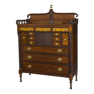 Monumental Federal Carved Tiger Maple & Mahogany Chest