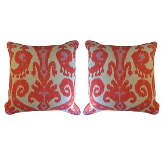 Coral Ikat Pillows on Natural Linen - A Pair