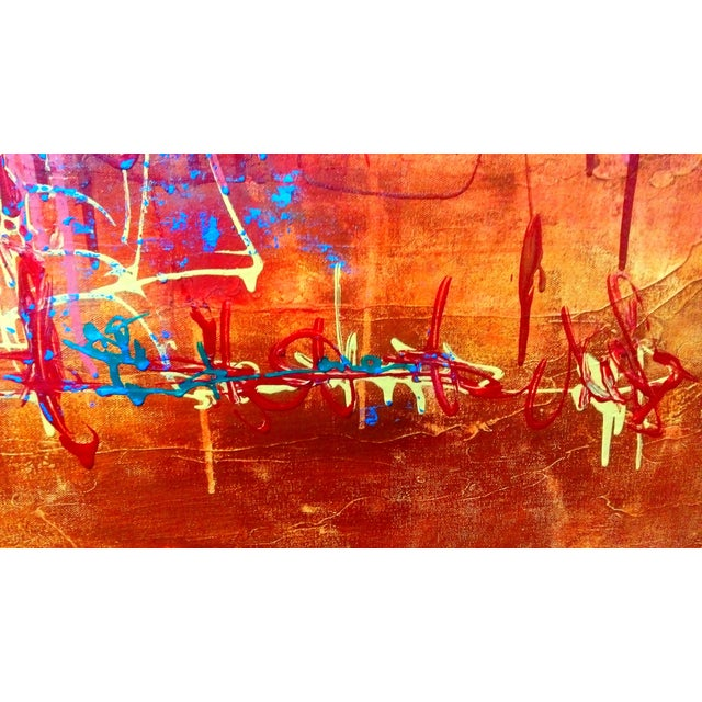 Abstract Expression Drip Action Cityscape Oil Painting - Image 2 of 9