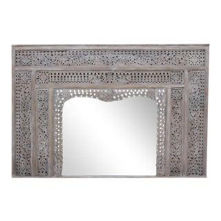 Carved Whitewash Balinese Mirror