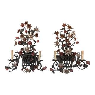 Vintage Tole Flower Basket Sconces - A Pair