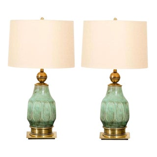 Sensational Pair of Turquoise Ceramic and Brass Lamps by Stiffel