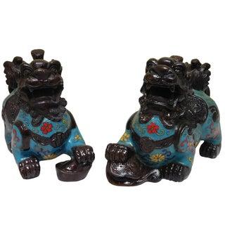 Chinese Blue Enamel Cloisonne Pixiu Figures - A Pair