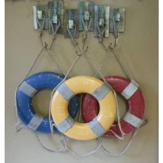 Vintage Life Rings and Weathered Wood Display Rack - Image 2 of 6