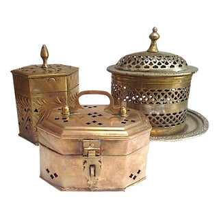 Brass & Silver Boxes - Set of 3