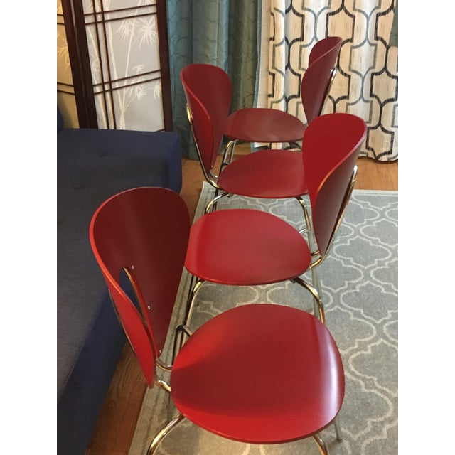 Design Within Reach Red Globus Chairs - Set of 4 - Image 6 of 6