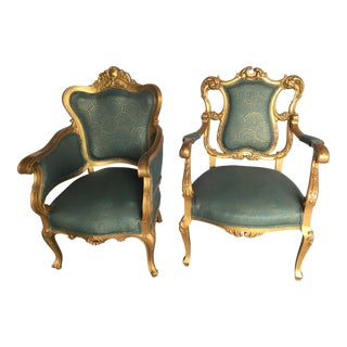 Vintage Gold Rococo Chairs- A Pair