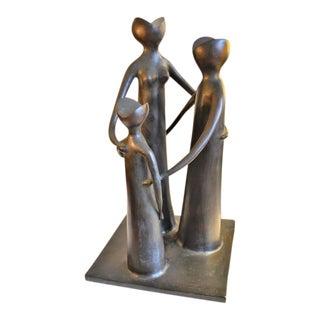 Abstract Figural Modernist Bronze Sculpture