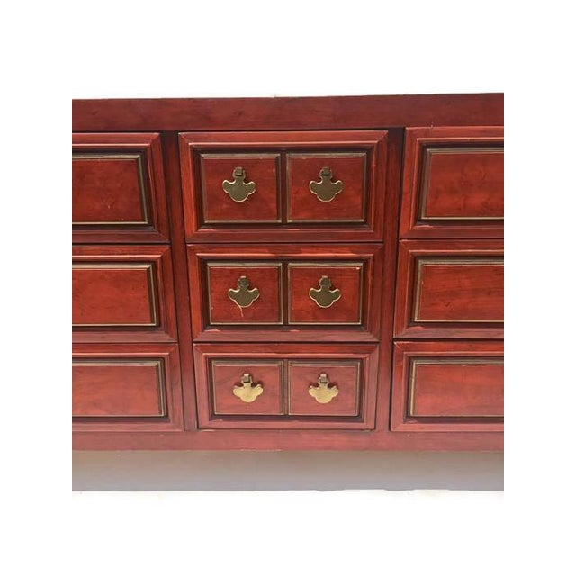 Mid Century Chinoiserie Dresser Asian Credenza Brass Hardware - Image 6 of 10