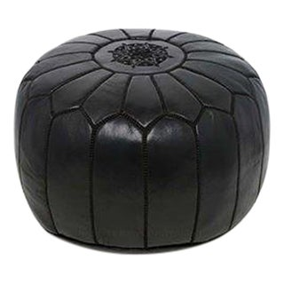 Tuxedo Black Moroccan Leather Pouf