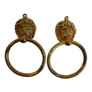 Brass Lion Head Towel Rings- Pair