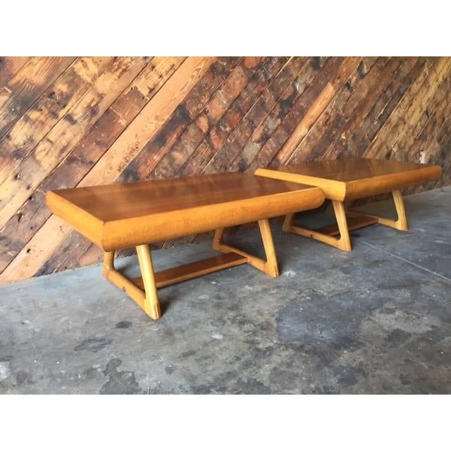 Mid-Century 50's Walnut Maple Side Tables - Image 5 of 5