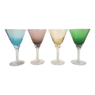 Vintage Mid-Century Modern Multicolor Martini Glasses - Set of 4