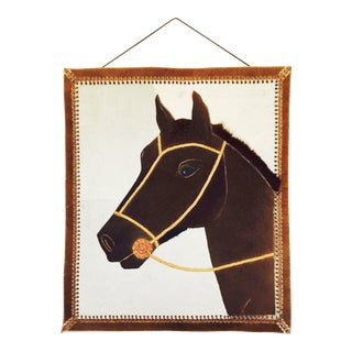 Vintage Stitched Hide & Leather Horse Portrait Wall Hanging