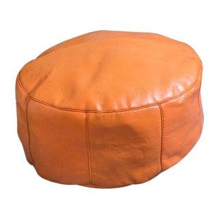 Antique Revival Orange Leather Pouf Ottoman