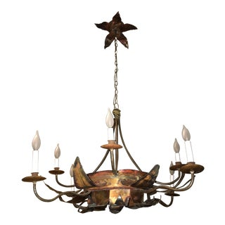 Brutalist Metal Flower Chandelier