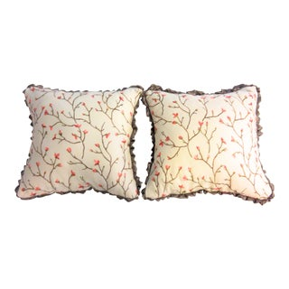 Embroidered Branch Pillows - A Pair