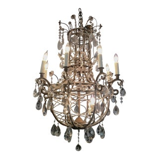 Circa 1885 French Iron & Crystal Chandelier