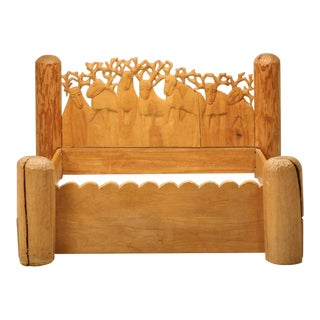 Seven Stags Hand-Carved Bed by Jerzy Kenar