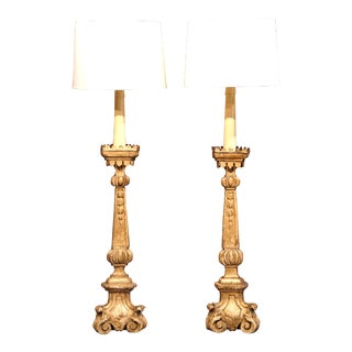Tall Pair of 18th Century French Carved Candlestick Floor Lamps with Gilt Finish
