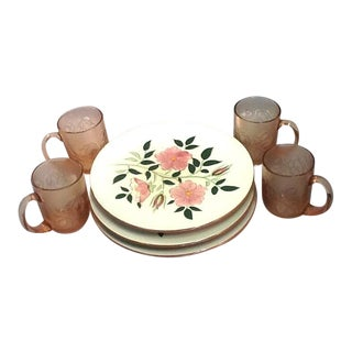 Stangl Wild Rose Plates & Depression Glass Rose Mugs - S/8
