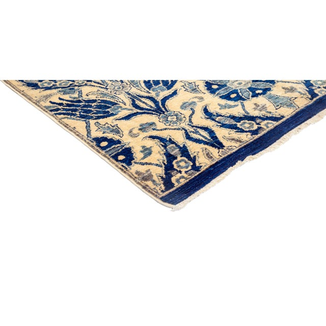 """New Blue Suzani Hand-Knotted Rug - 5'6"""" X 9'4"""" - Image 2 of 3"""