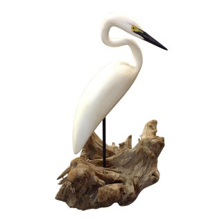 Carved Stork Figure by Eddie Wozny