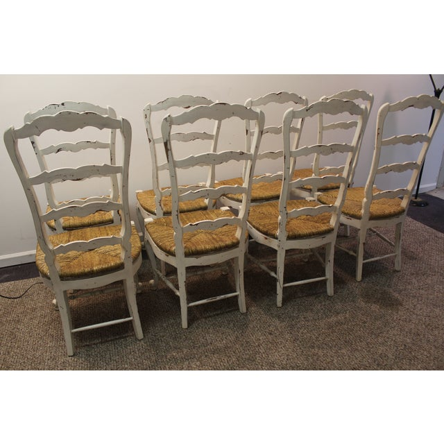 Country French Rush Seat Side Chairs - Set of 8 - Image 7 of 9