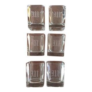 "Monogrammed ""M"" Cocktail Glasses- Set of 6"