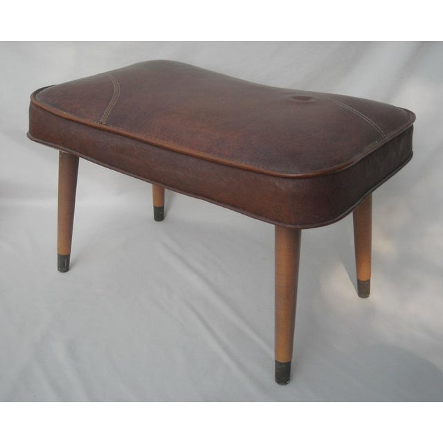 Danish Modern Brown Vinyl Ottoman - Image 3 of 6