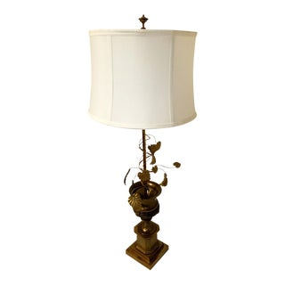 Mid-Century Bronze Cut Metal Table Lamp