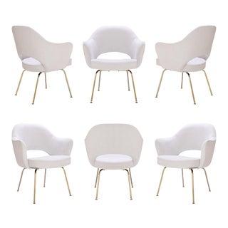 Customizable Saarinen Executive Armchairs in Dove Ultrasuede, 24-Karat Gold, Set of Six