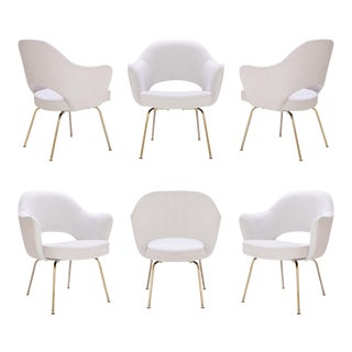 Saarinen Executive Armchairs in Dove Ultrasuede, 24-Karat Gold, Set of Six