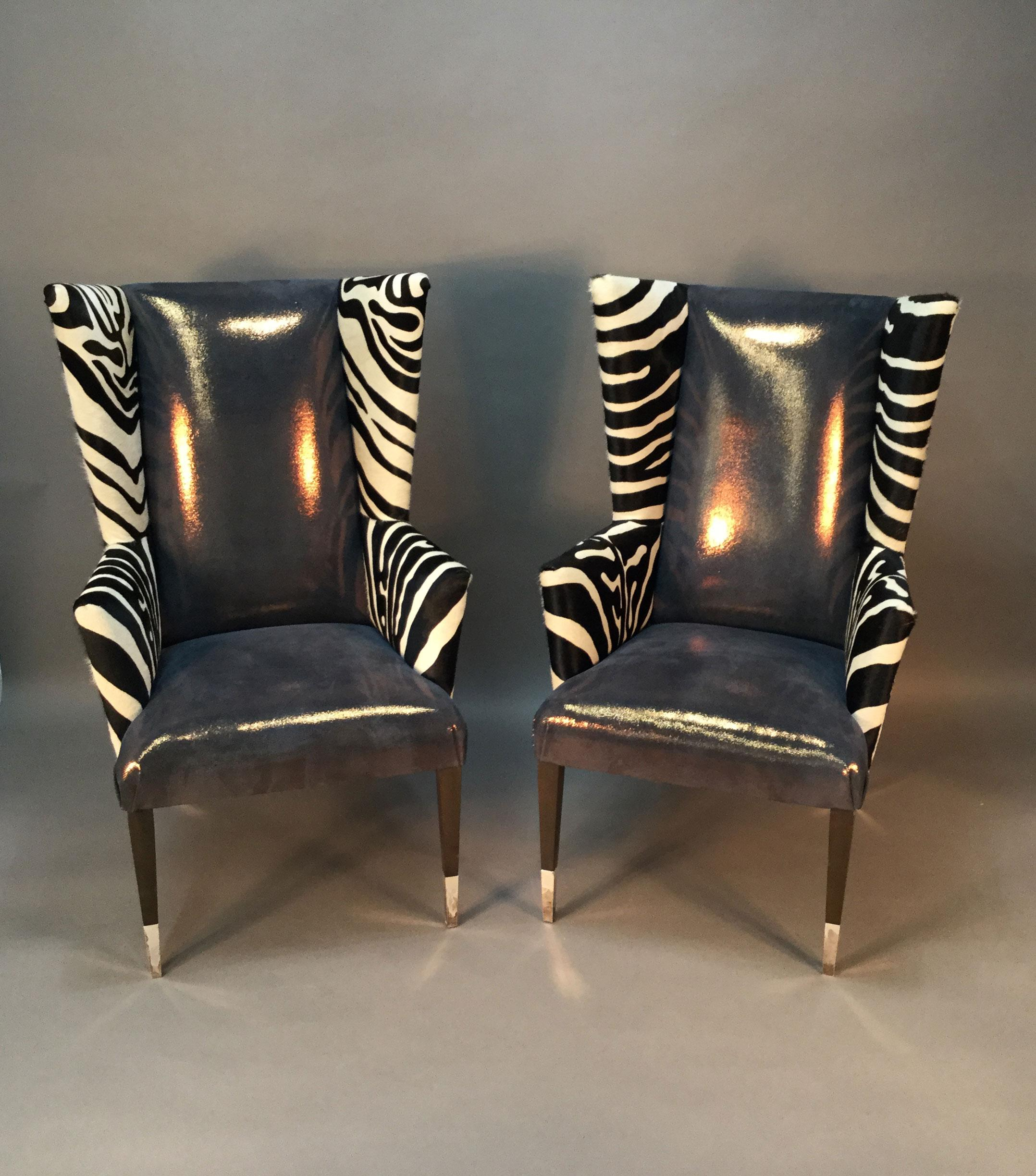 Modern wingback chairs with zebra print pair chairish