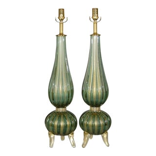 Three Footed Murano Lamps in Sage Green