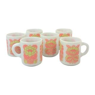 Lotus Flower & Poppy Milk Glass Mugs - Set of 6