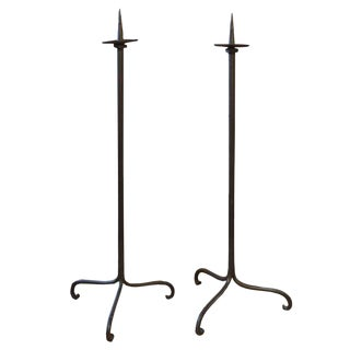 Pair of Early 19th Century Wrought Iron Candle Sticks