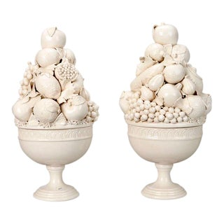 Pair Tall Italian Porcelain Fruit Compotes
